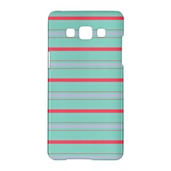 Horizontal Line Blue Red Samsung Galaxy A5 Hardshell Case  by Mariart