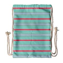 Horizontal Line Blue Red Drawstring Bag (large)