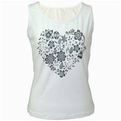 Grayscale Floral Heart Background Women s White Tank Top