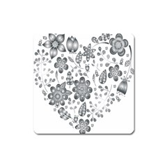 Grayscale Floral Heart Background Square Magnet by Mariart