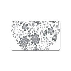 Grayscale Floral Heart Background Magnet (name Card) by Mariart