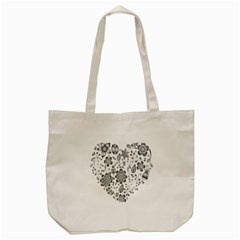 Grayscale Floral Heart Background Tote Bag (cream) by Mariart
