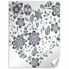 Grayscale Floral Heart Background Canvas 12  X 16   by Mariart