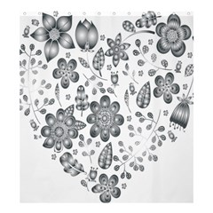 Grayscale Floral Heart Background Shower Curtain 66  X 72  (large)  by Mariart