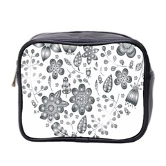 Grayscale Floral Heart Background Mini Toiletries Bag 2 Side by Mariart