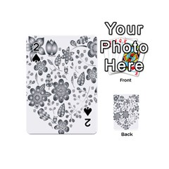 Grayscale Floral Heart Background Playing Cards 54 (mini)  by Mariart