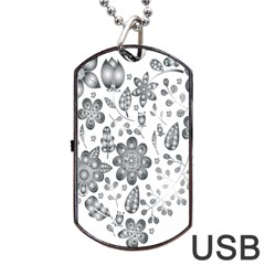 Grayscale Floral Heart Background Dog Tag Usb Flash (two Sides) by Mariart