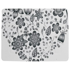 Grayscale Floral Heart Background Jigsaw Puzzle Photo Stand (rectangular) by Mariart