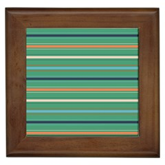Horizontal Line Green Red Orange Framed Tiles by Mariart