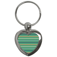 Horizontal Line Green Red Orange Key Chains (heart)  by Mariart