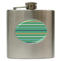 Horizontal Line Green Red Orange Hip Flask (6 Oz)