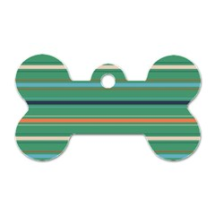 Horizontal Line Green Red Orange Dog Tag Bone (one Side) by Mariart