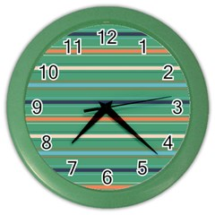 Horizontal Line Green Red Orange Color Wall Clocks