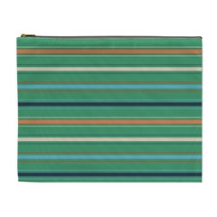 Horizontal Line Green Red Orange Cosmetic Bag (xl)