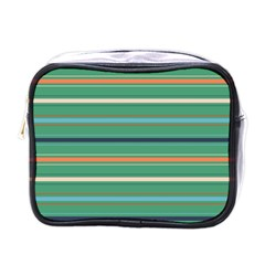 Horizontal Line Green Red Orange Mini Toiletries Bags by Mariart