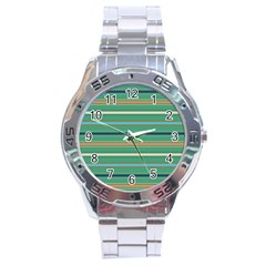 Horizontal Line Green Red Orange Stainless Steel Analogue Watch by Mariart