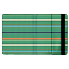 Horizontal Line Green Red Orange Apple Ipad 2 Flip Case by Mariart