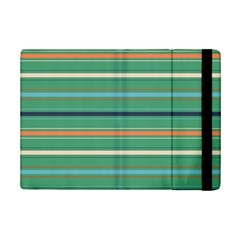 Horizontal Line Green Red Orange Ipad Mini 2 Flip Cases by Mariart