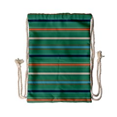 Horizontal Line Green Red Orange Drawstring Bag (small) by Mariart