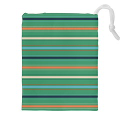 Horizontal Line Green Red Orange Drawstring Pouches (xxl) by Mariart