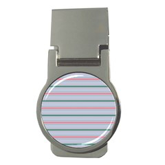 Horizontal Line Green Pink Gray Money Clips (round)  by Mariart