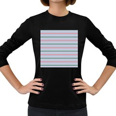 Horizontal Line Green Pink Gray Women s Long Sleeve Dark T Shirts