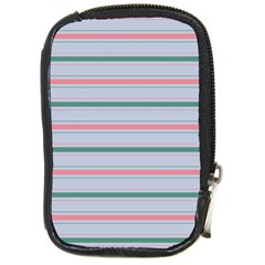 Horizontal Line Green Pink Gray Compact Camera Cases by Mariart