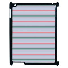 Horizontal Line Green Pink Gray Apple Ipad 2 Case (black) by Mariart