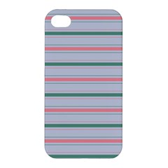 Horizontal Line Green Pink Gray Apple Iphone 4/4s Hardshell Case by Mariart