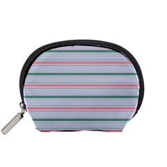 Horizontal Line Green Pink Gray Accessory Pouches (small)  by Mariart