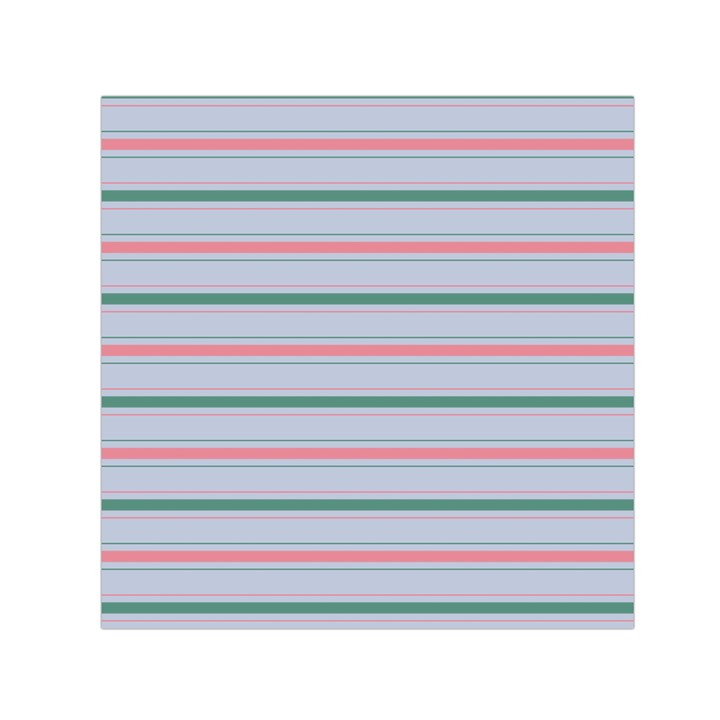 Horizontal Line Green Pink Gray Small Satin Scarf (Square)