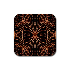 Golden Fire Pattern Polygon Space Rubber Coaster (square)  by Mariart
