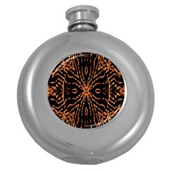 Golden Fire Pattern Polygon Space Round Hip Flask (5 Oz) by Mariart