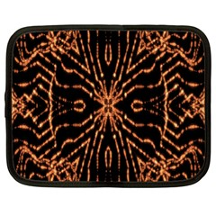 Golden Fire Pattern Polygon Space Netbook Case (xl)  by Mariart