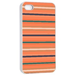 Horizontal Line Orange Apple Iphone 4/4s Seamless Case (white) by Mariart