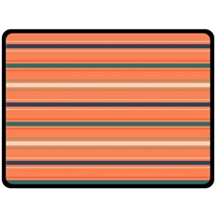 Horizontal Line Orange Double Sided Fleece Blanket (large)