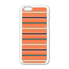 Horizontal Line Orange Apple Iphone 6/6s White Enamel Case by Mariart