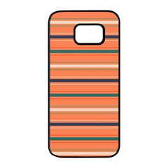 Horizontal Line Orange Samsung Galaxy S7 Edge Black Seamless Case by Mariart