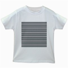 Horizontal Line Grey Pink Kids White T Shirts