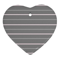 Horizontal Line Grey Pink Heart Ornament (two Sides) by Mariart