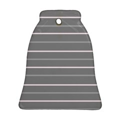 Horizontal Line Grey Pink Ornament (bell)