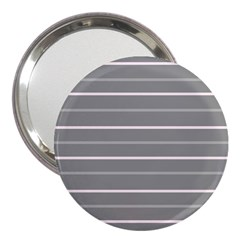 Horizontal Line Grey Pink 3  Handbag Mirrors