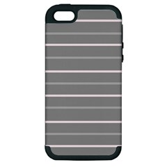 Horizontal Line Grey Pink Apple Iphone 5 Hardshell Case (pc+silicone) by Mariart