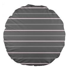 Horizontal Line Grey Pink Large 18  Premium Round Cushions by Mariart