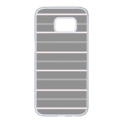 Horizontal Line Grey Pink Samsung Galaxy S7 Edge White Seamless Case by Mariart