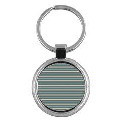 Horizontal Line Grey Blue Key Chains (round)  by Mariart