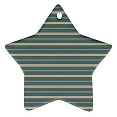 Horizontal Line Grey Blue Star Ornament (two Sides)