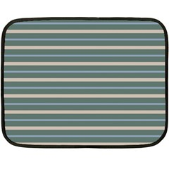 Horizontal Line Grey Blue Fleece Blanket (mini) by Mariart