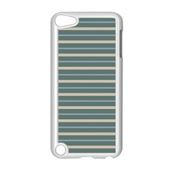 Horizontal Line Grey Blue Apple Ipod Touch 5 Case (white) by Mariart