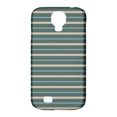 Horizontal Line Grey Blue Samsung Galaxy S4 Classic Hardshell Case (pc+silicone) by Mariart